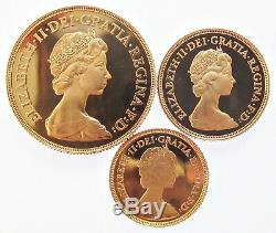 Elizabeth II 1982 Gold Proof 3 Coin Set Two Pound, Sovereign & Half Sov Fdc