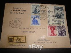 Ersttag, FDC 10 S, 1 S rot u. A Trachten 13.3.1950 Wien Reco nach Salzburg RR