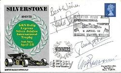 F1 Fdc Hand Signed Jackie Stewart Ronnie Peterson Clay Regazzoni Autographed