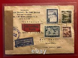 FDC, 1.9.1947 Zensur, Ersttag Eilbote Flugpost, Brasilien, Ankunftsst. Vorne