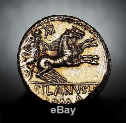 FDC+Breathtaking Gold Iridescent Patina. Silanus Stepfather of Brutus. Denarius