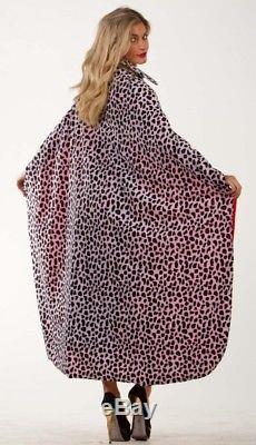 FDC Cruella Deville Long Cloak Cape Dalmation Print Faux Fur. Ladies Fancy Dress