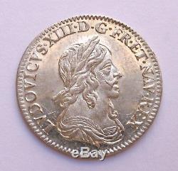 FDC Fleur de Coin et Rare 1/12 d'Ecu de Warin en argent Louis XIII 1643 A (Rose)