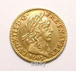 FDC et Rare Demi Louis d'or à la mèche longue Louis XIII 1643 A