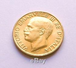 FDC et Très rare Italie 20 lires en or Victor Emmanuel III 1923 20 liras gold