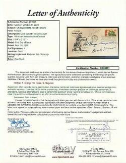FDC signed by 4 CHICAGO BEARS Hall of Famers-HALAS/NAGURSKI/GRANGE-JSA Letter