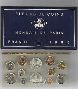 FRANCE Coffret FDC fleur de coin 1985 série des monnaies francaises 1985