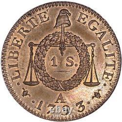 FRANCE Convention Sol à la balance Épreuve essai proof 1793 A FDC