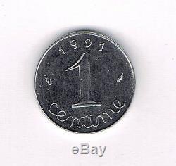 FRANCE G91 1 CENTIME EPI 1991 frappe médaille en FDC