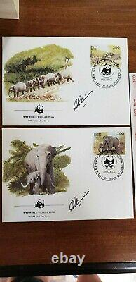 First Day Cover Elephants Sri lanka stamps by Gamini Ratnavira signed by artist