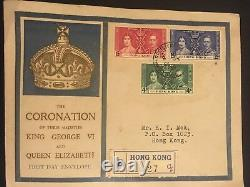 First Day Cover Stamps 1937 Hong Kong- Coronation King George and Queen Eliz
