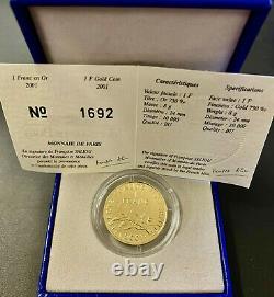France 1 Franc En Or 2001