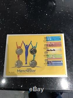 G. B. 2002 Commonwealth Games 4 x £2 Royal Mint First Day Cover Manchester