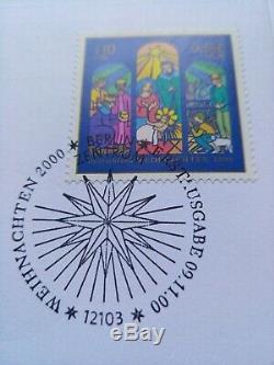 GIBRALTAR 50 PENCE 2000 CHRISTMAS MADONNA XMAS 50p coin/stamp cover FDC BUNC