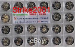 GIRO 21 MONETE Fdc 2 Euro Commemorativo 2012 10° Anniversario dell'EURO