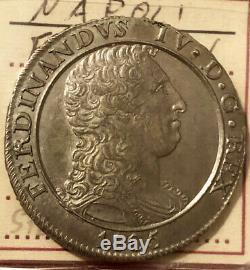 HN NAPOLI Ferdinando IV di Borbone 1805 piastra Ag SPL-FDC so827