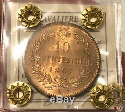 HN REGNO D'ITALIA Vittorio Emanuele II 1867 H Centesimi 10 Cu FDC eccez sp31