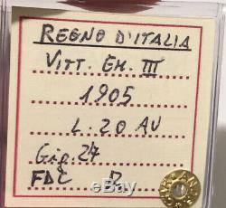 HN REGNO D'ITALIA Vittorio Emanuele III 1905 Lire 20 Au FDC RARA so874