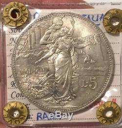 HN REGNO D'ITALIA Vittorio Emanuele III 1911 Lire 5 Ag FDC R so201