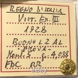 HN REGNO D'ITALIA Vittorio Emanuele III 1928 Buono 2 lire PROVA Al FDC RR sp243