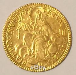 HN ROMA Papa Clemente XIV 1772 zecchino AU FDC gr. 3,40 fondi brillanti sm845