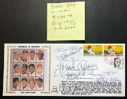 Hank Aaron Willie Mays Musial Brock Kaline +5 Signed Gateway Stamp Envelope