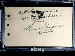 Honus Wagner Signed 1944 Psa/dna Certified Autograph Hof Pirates Gpc Postcard