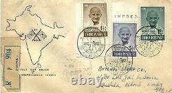 INDIA 1948 Gandhi Private FDC Rare Jai Hind 3 Value cover to Portuguese IndiaGOA