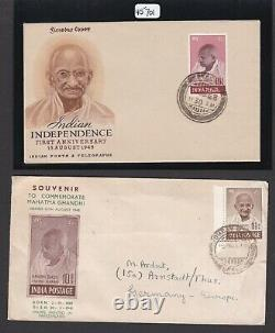INDIA 1948 MAHATMA GANDHI 10rs. FDC + COURVOISIER FOLDER MNH STAMPS + Cert