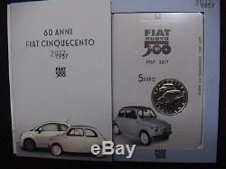 ITALIA 2017 moneta 5 EURO Argento FDC 60° Anniversario della FIAT 500 in folder