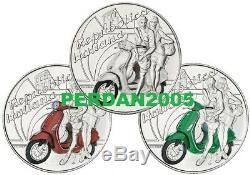 ITALIA 2019 TRITTICO 3 x 5 EURO VESPA ARGENTO FDC ECCELLENZE ITALIANE ITALY AG