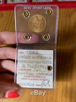 Impero Austriaco Francesco Giuseppe 4 Fiorini 1892 Mezzo Marengo Oro Fdc