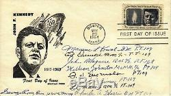 JFK's PT-109 Crew Members First Day Cover Signed by 9 crew members