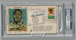 Jackie Robinson 1st Day Cover Mickey Mantle Don Drysdale B. Leonard Auto Psa/dna