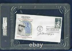 Joe DiMaggio Autographed Baseball First Day Cover PSA SLABBED NY Yankees HOFer