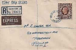 KGVI sg478c £1 brown Aberdeen Registered First Day Cover Fine