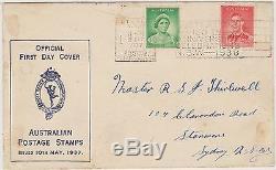 (KU4) 1937 AU FDC 2d KGV& 1d QEII Australian postage stamps
