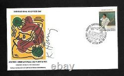 Keith Haring Signed (wfuna) First Day Of Issue. Stamped And Canceled. Mint