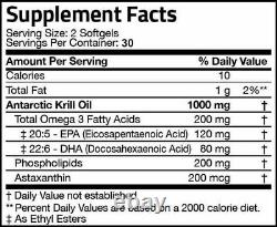 Krill Oil 1000mg with Omega-3s EPA, DHA and Astaxanthin 1200 Softgel (20 PACKS)