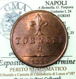 L19/177 NAPOLI Francesco II 2 TORNESI 1859 eccezionale FDC RAME ROSSO periziato