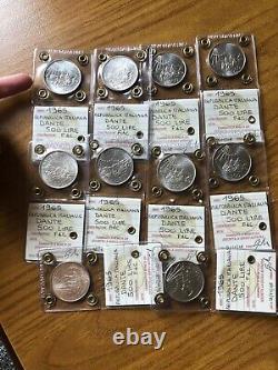 LOTTO 10 MONETE REPUBBLICA 500 LIRE DANTE 1965 ARGENTO sigillate FDC