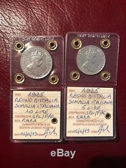 LOTTO 2 MONETE REGNO D' ITALIA SOMALIA 5 10 LIRE 1925 RARE sigillate SPL/FDC