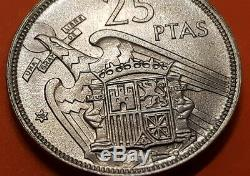 @LUJO@ 25 PESETAS 1957 58 PLUS FDC España ESTADO ESPAÑOL FRANCO SIN CIRCULAR