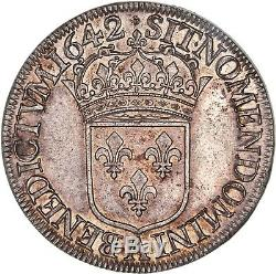 Louis XIII Ecu d'argent 60 sols Premier poinçon de Warin 1642 Paris FDC
