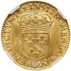 Louis XIV Louis d'or à l'écu 1691 N Montpellier NGC MS64 FDC état exceptionnel