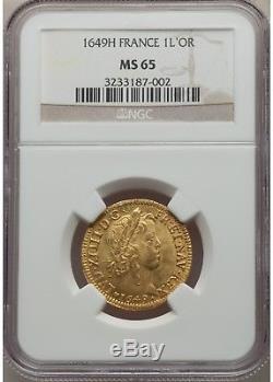 Louis XIV Louis d'or à la mèche longue 1649 H La Rochelle NGC MS65 FDC+++