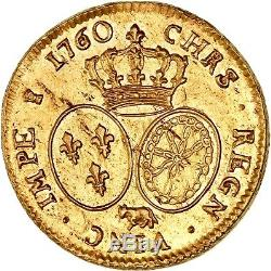 Louis XV Double louis d'or de béarn au bandeau 1760 Pau état de frappe FDC éclat