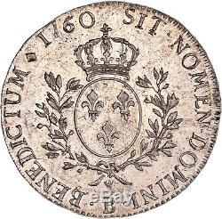 Louis XV Ecu dit au bandeau 1760 B Rouen état exceptionnel SUP à FDC