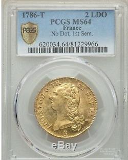 Louis XVI Double louis d'or à la tête nue 1786 T Nantes PCGS MS64 FDC