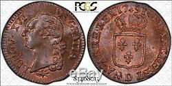 Louis XVI Sol à l'écu 1791 Lyon PCGS MS65 RB Rouge de frappe FDC magnifique